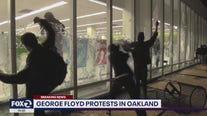 Shattered glass at Chase Bank, looting at Oakland Walgreen's