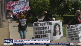 'We are essential:' Salon workers protest in Sacramento