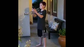 13-year-old Brentwood boy plays the Star Spangled Banner each night during the shelter-in-place