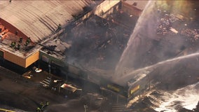SkyFOX over 3-alarm fire at abandoned San Jose strip mall