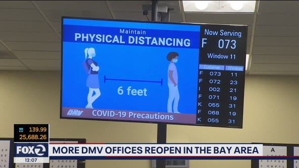 More DMV field offices reopen around the Bay Area