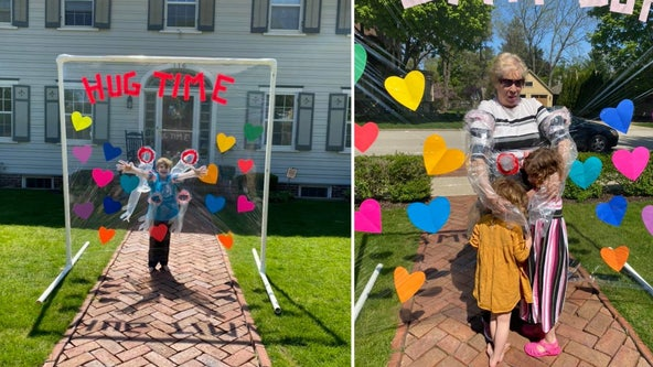 Mom makes 'hug time' device so her kids can give Nana a hug