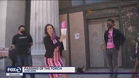 Pink torch heads from Oakland to light Pink Triangle in San Francisco