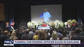 Hundreds gather at Pinole Valley High School to pay last respects to federal officer gunned down in Oakland