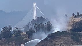 San Francisco firefighters knock down brush fire on Yerba Buena Island with fire boat