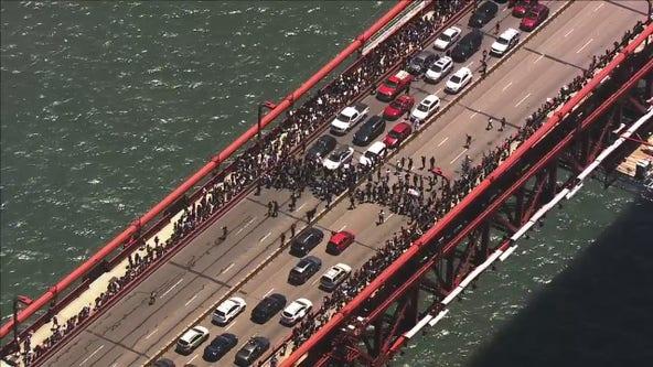 Crowd clogs Golden Gate Bridge amid marches for George Floyd