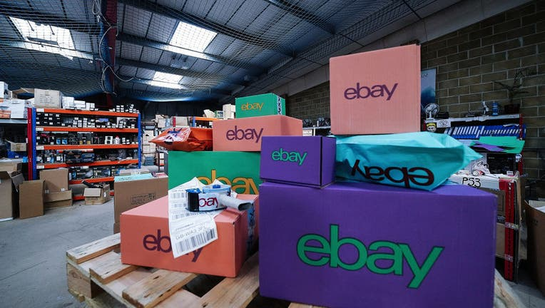 FILE - An eBay delivery parcel is prepared for shipping at an eBay seller warehouse.