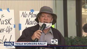 Tesla workers rally, call for health department protections during COVID-19 pandemic