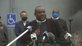 Rev. Michael McBride holds a news conference following an arson at The Way Church in Berkeley