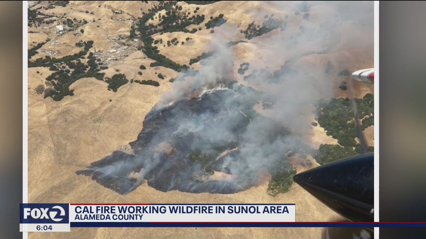 Cal Fire working wildfire in Sunol area