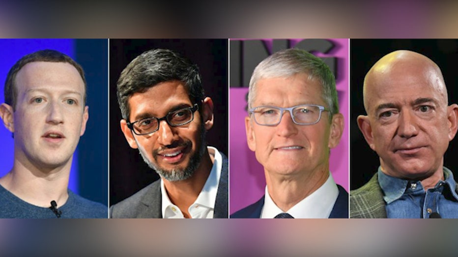 FILE - (L-R) Facebook CEO Mark Zuckerberg, Google CEO Sundar Pichai, Apple CEO Tim Cook and Amazon Founder and CEO Jeff Bezos.
