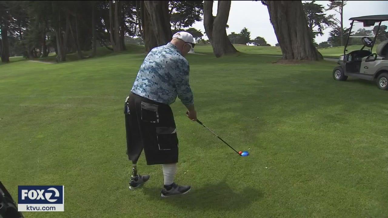 Disabled vets take part in PGA sponsored golf tournament in San Francisco