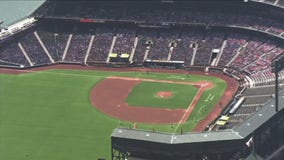 SkyFOX flies over Oracle Park in San Francisco following Wednesday night's strike that forced the postponement of the Giants-Dodgers game