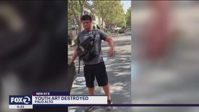 Man destroys youth art in Palo Alto, spray paints 'MAGA'