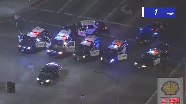 Long Friday night police chase ends peacefully in Huntington Park