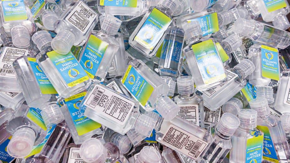 Florida, Miami Beach, CVS Pharmacy, display of frangrance-free antibacterial hand sanitizer