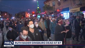 Candlelight vigil and march held for Supreme Court  Justice Ruth Bader Ginsburg in SF's Castro