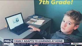 Family adapts to learning from home