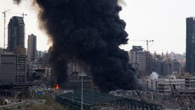 A month after explosion, massive fire breaks out at Beirut port