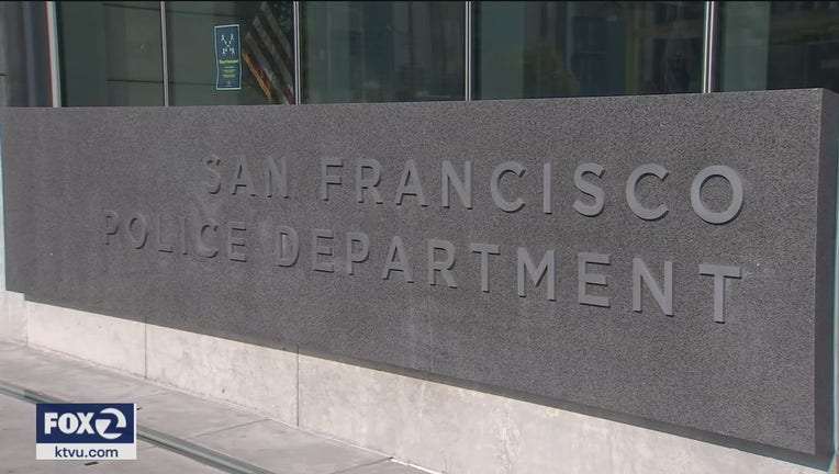 A view of the sign outside of the San Francisco Police Department's headquarters.