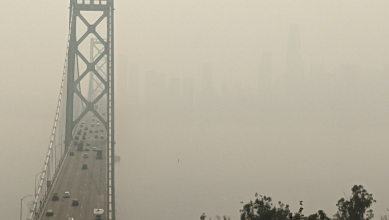 The view of the San Francisco skyline and the Bay Bridge was obscured by smoke on Sept. 11, 2020.