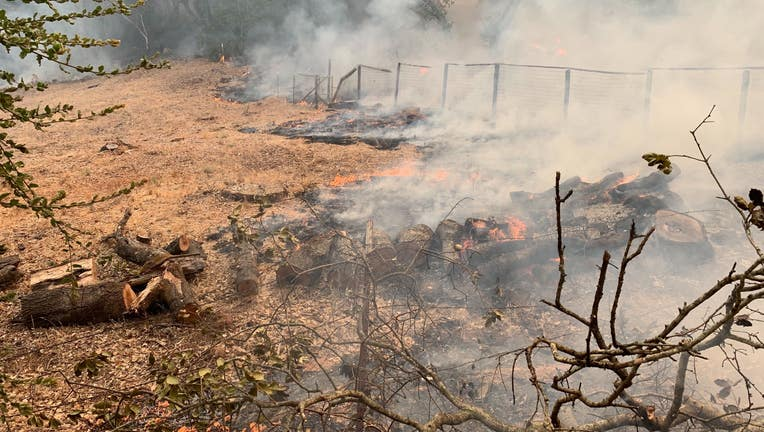 A view of damage caused by the Glass Fire on Crystal Springs Road in Napa County