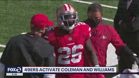 49ers activate RB Coleman, CB Williams from IR