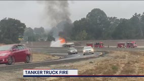 Gas tanker catches fire on I-80, no injuries reported