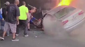 Bystanders unsuccessfully attempt rescue from fiery crash on I-80