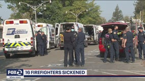 16 firefighters possibly sickened by carbon monoxide