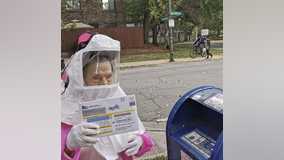 Viral: 102-year-old retired teacher casts her mail-in ballot in full protective gear