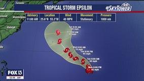Tropical Storm Epsilon forms in Atlantic Ocean