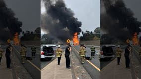 No injuries in Richmond tanker truck crash and fire on I-80