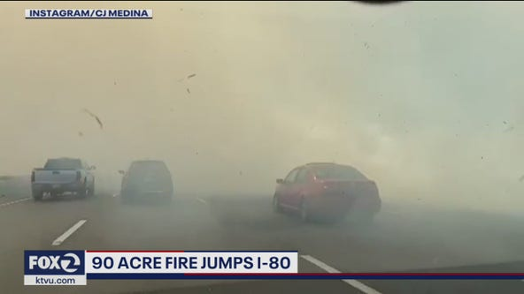90-acre fire jumps I-80 in Vacaville