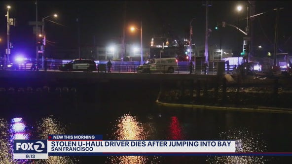 Stolen U-Haul driver dies after jumping into water; CHP officer dives in to grab him