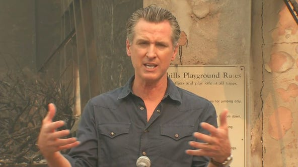 California Gov. Newsom tours damage wreaked by Glass Fire