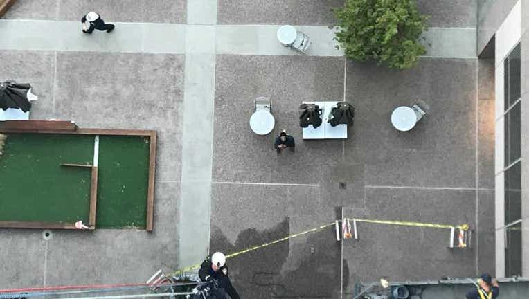 Firefighters rescued two window washers trapped outside of a Walnut Creek office on Oct.17, 2020.
