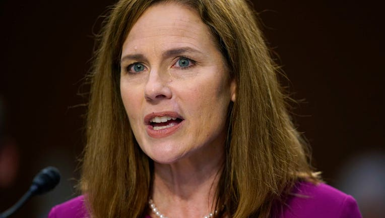 Supreme Court nominee Amy Coney Barrett speaks during her Senate Judiciary Committee confirmation hearing for Supreme Court Justice on Capitol Hill on Oct. 12, 2020 in Washington, D.C. (Photo by Patrick Semansky - Pool/Getty Images)