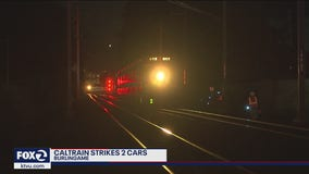 Caltrain hits two occupied vehicles in Burlingame, no one injured
