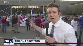 Free speech zone setup outside Arizona's Maricopa County Recorder's Office