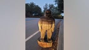 Stolen Bigfoot statue found along road in Santa Cruz County