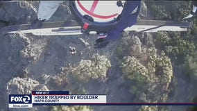 CHP rescues hiker trapped by falling boulder