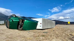 111 mph Sierra winds cancel Reno flights, topple semi-trucks