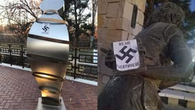Anne Frank memorial in US defaced with swastika stickers