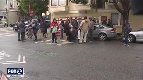 Demonstrators protest outside Mayor Breed's residence