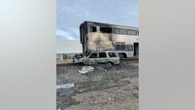 Amtrak train damaged by fire after collision with unoccupied vehicle in Newark