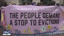 Protesters blockade courthouse steps, demand an end to evictions