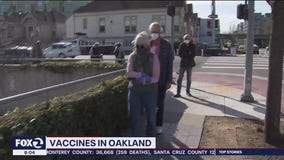 Timelapse video: Long lines in Oakland for vaccine