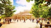 Athletics stadium rendering in Jack London Square