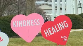 First lady Jill Biden installs Valentine's Day hearts on White House lawn